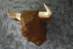 Paper bull, Polygonal bull, Trophy head bull, Lowpoly  paper bull, 3D puzzle DIY, Template head bull, Papercraft bull FREE SHIPPING