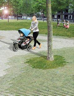 bestrating van gras naar klinkers