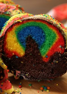 How to make a rainbow cake! Perfect for National Coming Out Day.
