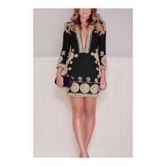Black Deep V Neck Random Floral Prints Mini Party Dress (€15) ❤ liked on Polyvore featuring dresses