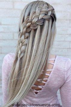 Hair Braiding Sideways on the head Manual // # Tutorial # Hair # Head - Frisuren lange haare - Hochzeit Quick Hairstyles For School, Wedding Hairstyles For Long Hair, Trendy Hairstyles, Girl Hairstyles, Braided Hairstyles, Hair Wedding, Layered Hairstyles, Black Hairstyles, Short Haircuts