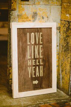 wedding signs - photos by Shannon Roddy and Elena Mudd for Amber Gress Photography http://ruffledblog.com/stylish-greenpoint-loft-wedding