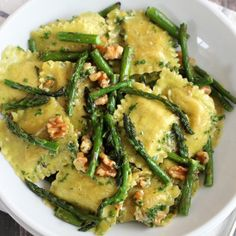Ravioli With Sauteed Asparagus and Walnuts -- a perfect recipe to celebrate Spring! ❤️KnittingGuru http://www.KnittingGuruDesigns.blogspot.com