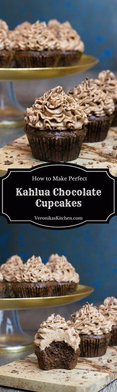 Kahlua Chocolate Cupcakes are a perfect dessert idea for chocolate and coffee lovers, featuring rich and decadent chocolate and coffee flavor with a touch of Kahlua.