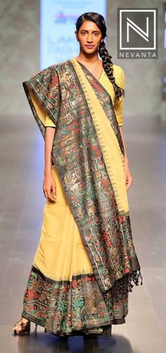 This #saree by #Gaurang features a wide border with intricate designs