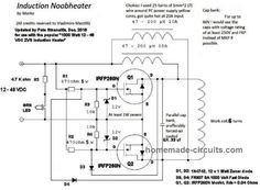 The original Mazzili flyback driver schematic was modified to work for an induction heater Induction Forge, Induction Heating, Electronic Circuit Projects, Electrical Projects, Electronic Engineering, Power Electronics, Electronics Projects, Hobby Electronics, Electronic Schematics