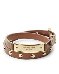 b892cfc3e11 Michael Kors Double-Wrap Leather Bracelet