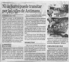 Un burro a las calles para protestar por el mal estado de las vías en Antímano. Publicado el 27 de septiembre de 1991