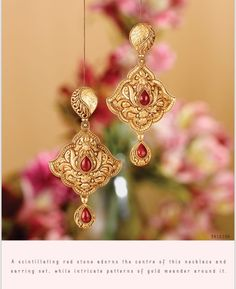 Buy Rivaah Jewellery Designs online with a wide variety of collections in India. Check out Tanishq best collection of Designer earrings, neckwear, etc . Diamond Earrings Indian, Gold Jhumka Earrings, Gold Earrings Designs, Gold Jewellery Design, Antique Earrings, Jhumka Designs, Gold Designs, Fashion Jewellery, Gold Fashion