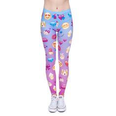 2017 Cute Fashion Emoji Printed Leggings High Waist Elastic Bodybuilding Leggings Trousers Women Sporting Work Out Leggings #Affiliate
