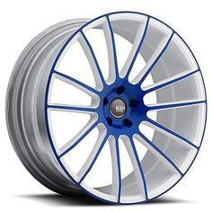 (4pcs) 20 Staggered Savini Wheels Black Di Forza BM9 Blue W White Rims