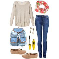 """School"" by caseymbeynon on Polyvore Laurelena Scarves  #Outfit #Watermelon www.laurelena.com"