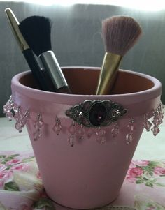 Handpainted/Decorated flower pot by SistersShabbyCloset on Etsy, $10.00