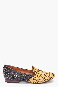 66084f200b5 Textured leather loafers in black. Dyed leopard print Pony hair paneling at  shoe face.