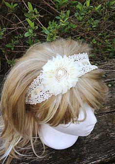 Rustic Burlap Lace Headband, Woodland Wedding Bridal Hair Band, Cream Shabby Accessory on Etsy, $35.00