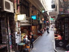 Centre Place laneway, Melbourne Australia. The most vibrant of inner-city Melbourne's laneways, Centre place is only a short stretch but packed with great coffee, cafes and bars, nearly all with laneway seating. A GREAT place to people watch and sip a flat white.