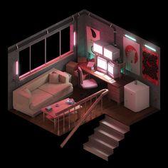 ArtStation - The City - Isometric Environments, Ethan Demarest Game Design, 3d Design, House Design, Isometric Art, Isometric Design, Environment Concept, Environment Design, Low Poly, Cyberpunk
