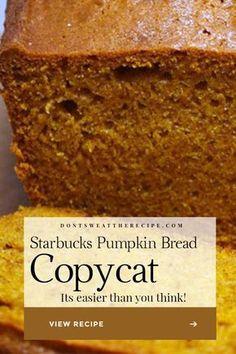 Starbucks Pumpkin Bread, Pumpkin Loaf, Moist Pumpkin Bread, Pumpkin Dessert, Pumpkin Spice, Pumpkin Carving, Pumpkin Bread Recipes, Mini Loaf Pumpkin Bread Recipe, Starbucks Bread Recipe