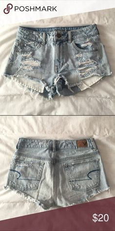 High waisted distressed shorts Light wash, cutoff, distressed, high waisted shorts. From American Eagle. Worn many times; still in good condition. Size 0 and 100% cotton. Make an offer!! American Eagle Outfitters Shorts Jean Shorts