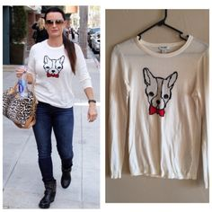 • Old Navy Bulldog Sweater • Highly sought after & seen on many bloggers as well as the real housewife Kyle Richards.Excellent condition - minor pilling. Old Navy Sweaters
