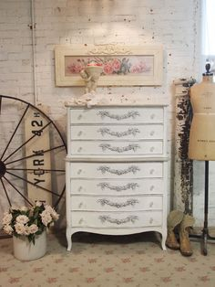 Painted Cottage Chic Shabby Oyster French Dresser [ch28] - $525.00 : The Painted Cottage, Vintage Painted Furniture