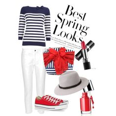 Spring look red and blue  by flaminia-genualdo on Polyvore featuring polyvore, moda, style, Wallis, T By Alexander Wang, Converse, Mud Pie, Forever 21, Clinique, H&M and avonmakeup