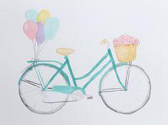 Watercolor Bicycle Painting, Watercolor Painting, Bicycle Print, Bicycle art, Bicycle Wall Art, Bicycle Basket, Wall Art, Original, Bike Art by PaintAndGrace on Etsy