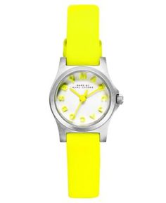 Marc by Marc Jacobs Watch, Women's Dinky Safety Yellow Leather Strap 21mm MBM1235