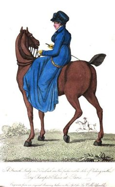 La Belle Assemblee, March 1807.  Well!  I think this has gone from the green riding habit blog to the blue riding habit blog!  Who can complain when riding habits are involved?
