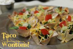 Taco Wontons EASY fun meal or appetizer, and fun for the kids to help with. I always love a recipe that involves NO THINKING! :)