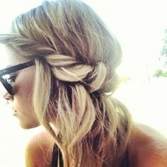 Love the side twist and wavy hair