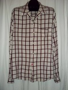 Basco All American Red White Black Button Front L/S Shirt Size: XL  #AllAmerican #ButtonFront