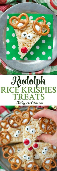 These Rudolph Rice Krispies® Treats are an easy Christmas dessert that your children can help prepare -- the perfect addition to holiday platters!