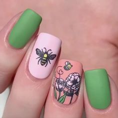 Nail art Christmas - the festive spirit on the nails. Over 70 creative ideas and tutorials - My Nails Spring Nail Art, Nail Designs Spring, Spring Nail Colors, Cute Nails For Spring, Summer Nails, Nail Art Designs Videos, Gel Nail Designs, Nail Stamping Designs, Nails Design