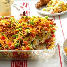 Chili Corn Bread Salad Recipe -A co-worker brought this wonderful dish to a potluck several years ago. She had copies of the recipe next to the pan. Now I make it for get-togethers and also supply copies of the recipe. I never have any leftover salad! Cornbread Salad Recipes, Chili And Cornbread, Chili And Corn Recipe, Casserole Recipes, Mexican Cornbread Salad, Jiffy Cornbread, Church Potluck Recipes, Potluck Dishes, Potluck Meals