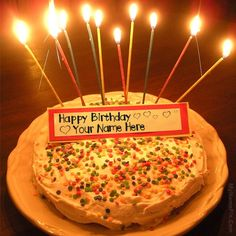 Best #1 Website for name birthday cakes. Write your name on Romantic Candles Birthday Cakes picture in seconds. Make your birthday awesome with new happy birthday greetings cakes. Get unique happy birthday cake with name.
