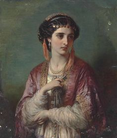 Jessica.1867. Oil on Canvas. 35.6 x 30.5 cm.  Art by Thomas Francis Dicksee.(1819-1895).