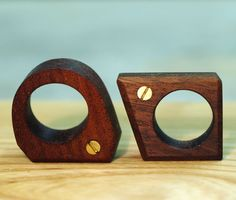 A graduate student of Woodworking and Furniture Design at Rochester Institute of Technology, Nucharin Wangphongsawasd has designed a ring called The Brasstard. The geometric-shaped wood rings come complete with an exposed brass screw.