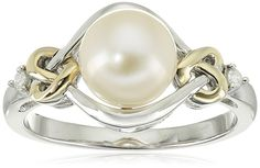 Sterling Silver and 14k Yellow Gold 8mm Freshwater Cultured Pearl and Diamond Ring (0.03 cttw, I-J Color, I3 Clarity), Size 8 >>> Read more reviews of the product by visiting the link on the image.
