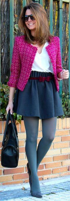 pink jacket, black skirt and black bag  Beautiful Womens Fashion