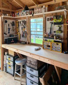 Storage Shed Organization, Garage Tool Storage, Garage Shed, Garage House, Workshop Shed, Workshop Layout, Gun Safe Room, Woodworking Drill Press, Shed Interior