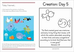 Sunday School Creation Day 5. FREE take home booklet.