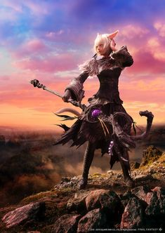 View an image titled 'Y'shtola Black Mage CG Art' in our Final Fantasy XIV: Shadowbringers art gallery featuring official character designs, concept art, and promo pictures. Final Fantasy Xiv, Final Fantasy Characters, Fantasy Series, Fantasy World, Female Characters, Fantasy Art, Neko, Black Mage, Cg Art