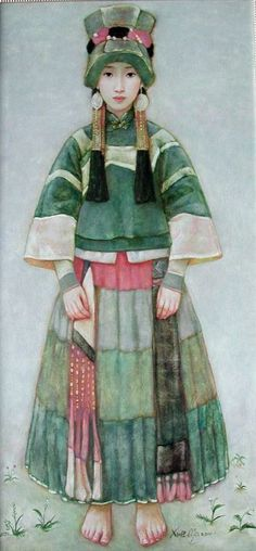 Xue Mo (born 1966 in Mongolia): title unknown [portrait of a girl in costume], Oil on canvas. Chinese Painting, Chinese Art, Japan Kultur, Santa Sara, Art Asiatique, Photo D Art, Mongolia, Figurative Art, Asian Art