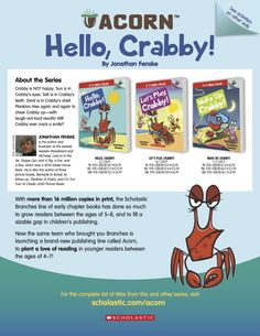 Get information about the Acorn series Crabby by Jonathan Fenske for beginning readers, and do some fun drawing and writing activities! Reading Resources, Writing Activities, Social Emotional Learning, Early Readers, Acorn, Some Fun, Cool Drawings, Lesson Plans, Friendship