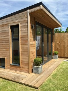 Crusoe Garden Rooms create affordable and stylish hand crafted cedar clad wooden garden rooms, garden offices and bespoke garden buildings Small Garden Office, Garden Office Shed, Backyard Office, Backyard Studio, Backyard Bar, Backyard Sheds, Garden Studio, Studio Shed, Backyard Landscaping