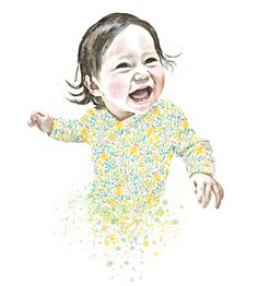 A bespoke custom portrait created by You and Me Prints from your everyday family photos. A Perfect unique personalised artwork for the home or nursery or gift for a special loved one.