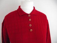 Vintage sweater jumper 80s red acrylic wool by BidandBertVintage