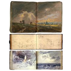 "William Turners original sketchbooks that can be seen at the Tate Museum. London.   In 2015 a book titled ""Turners Sketchbook "" was published and is still available to purchase. Writings of his journeys in addition to photos of his drawings and watercolors."