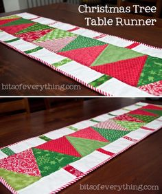 Christmas Tree Table Runner - Bits of Everything Christmas Gift: For Mother in Law - Bits of Everything Great Christmas gift for so many people! Table Runner Christmas, Christmas Tree On Table, Christmas Table Decorations, Xmas Table Runners, Xmas Tree, Mother Christmas Gifts, Mother Gifts, Motifs Applique Laine, Christmas Patchwork